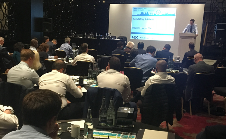 FCA's Stephen Hanks presents the regulatory address at a Waters Tech Mifid II event.