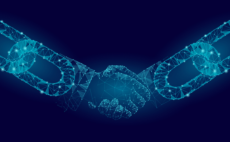 hands blockchain partnership agreement