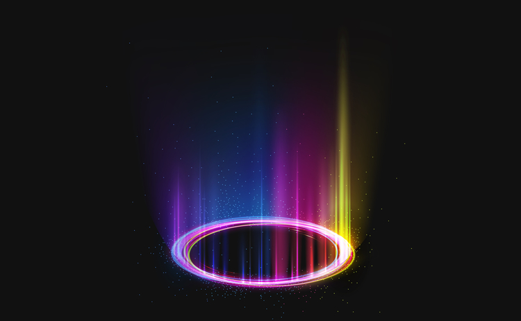 glowing rainbow circle on black background