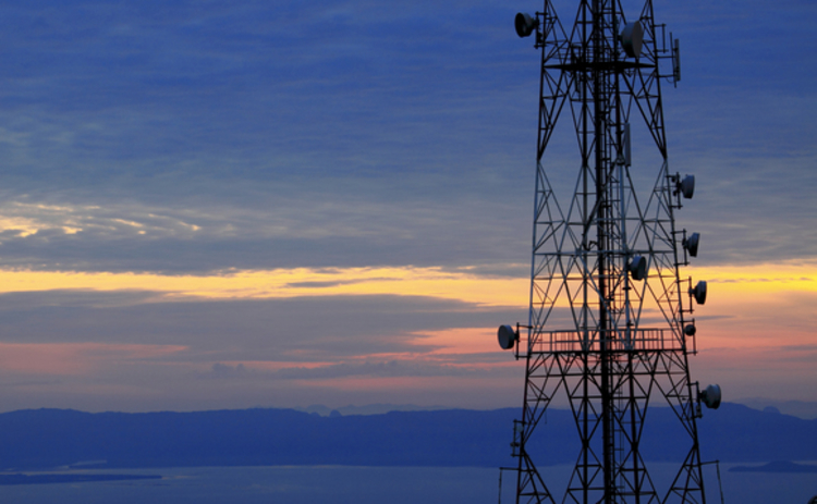 Mobile spectrum antenna against sunset