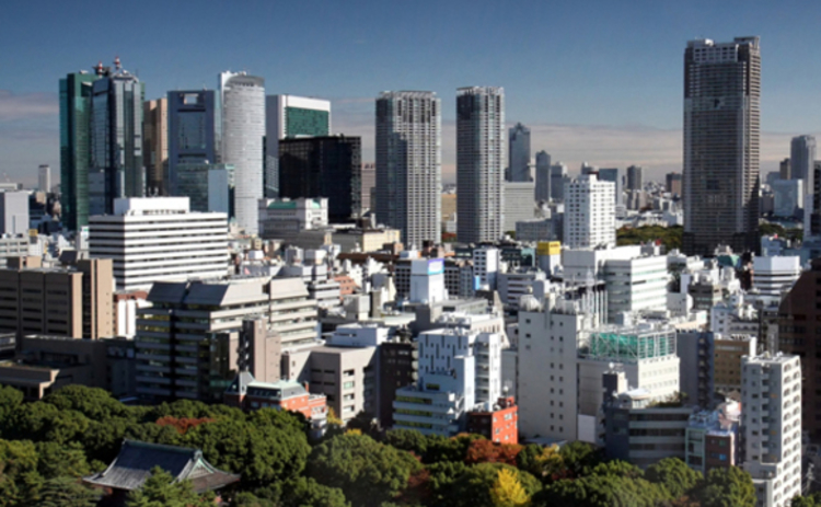 The skyline of downtown Tokyo