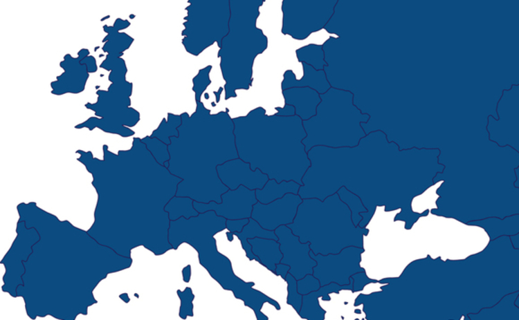Map of Europe in CRN blue