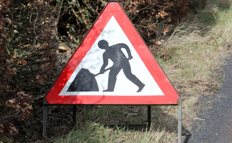 A roadworks sign