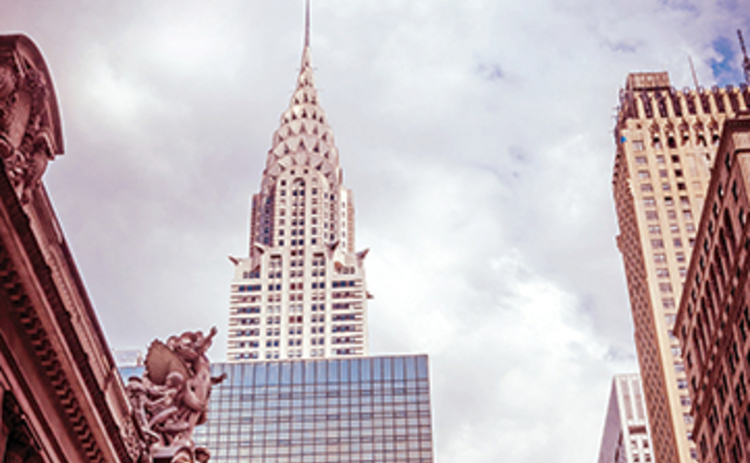 Photograph of the New York City skyline including the Chrysler Building