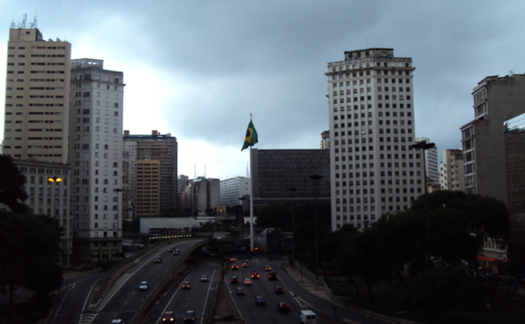 A Brazilian flag on a building in Sao Paulo